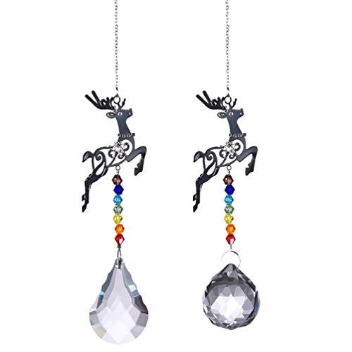 EXCEART 2 Stück Rentier Kristall Kronleuchter Prismen Anhänger Kugeln Sonnenfänger Kristall Girlande Perlen Weihnachtsdekoration