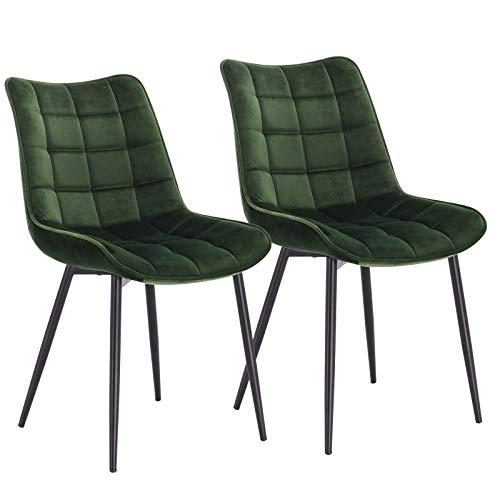 WOLTU® Esszimmerstühle BH142dgn-2 2er Set Küchenstuhl Polsterstuhl Wohnzimmerstuhl Sessel mit Rückenlehne, Sitzfläche aus Samt, Metallbeine, Dunkelgrün