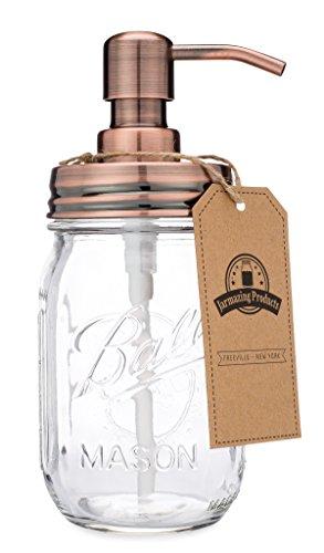 Jarmazing Produkte Klassischer Landhaus-Einmachglas- Seifenspender - Kupfer - Mit 16-Unzen-Ball-Einmachglas