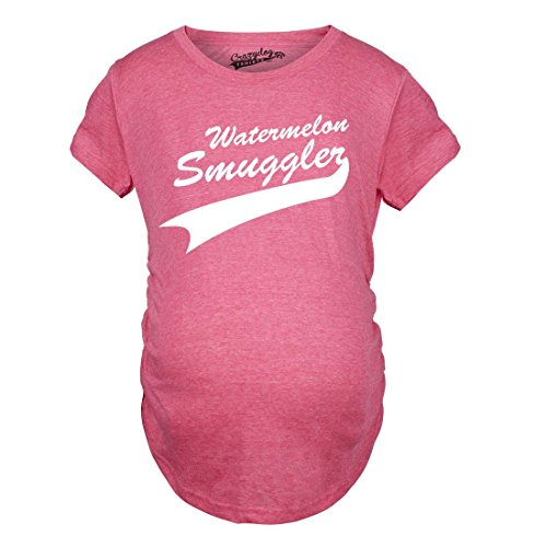 Crazy Dog Tshirts - Maternity Watermelon Smuggler Shirt Funny Pregnancy T Shirts Announcement Ideas (Pink) - 3XL - Femme