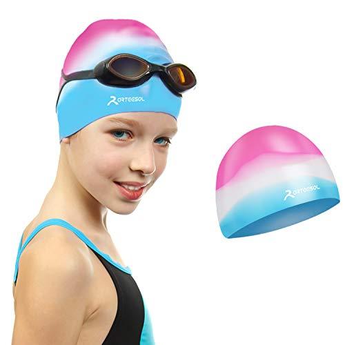 arteesol Badekappe für Kinder, Kinder, Jungen und Mädchen im Alter von 5 bis 12 Jahren, wasserdichte Badekappen für Kinder