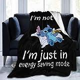 Manta de franela de Stitch, suave, cómoda y cálida, para cama infantil de verano, edredón fino adecuado (1,100 x 140 cm)
