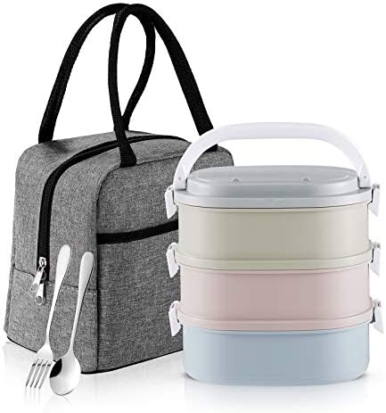 Bento Box Adult Lunch Box Slaipo Leak proof Lunch Box Containers Insulated Lunch Bag Fork Spoon product image