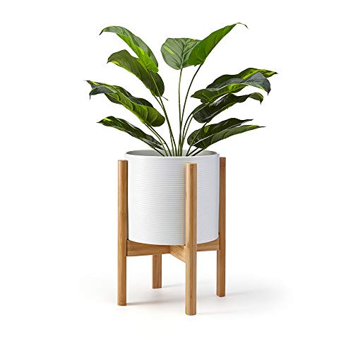 Lana Mae Adjustable Bamboo Plant Stand Modern Wooden Home...