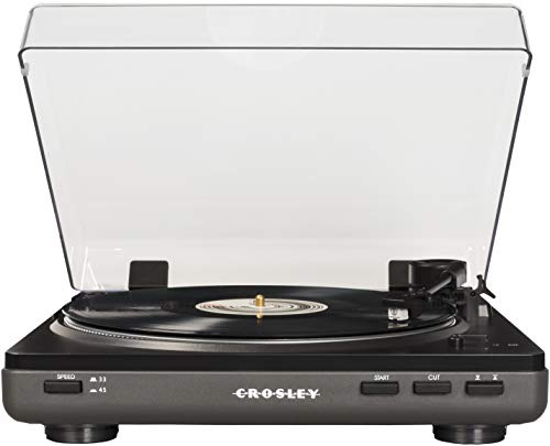 Crosley T400A-GY Fully Automatic 2-Speed Component Turntable with Built-in Preamp, Grey