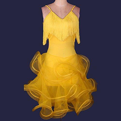 kekafu Wir Latin Dance Kleider Frauen Performance Training Crepe Kleid, Gelb, XXL