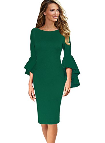 VFSHOW Womens Green Ruffle Bell Sleeves Business Cocktail Party Sheath Dress 1707 GRN L