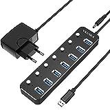 VKUSRA USB 3.0 Hub, 7 Puertos USB Data Hub con Alimentación Adaptador, Ultrafino de Aluminio Divisor Multipuerto USB con Cable de 1,2m para Mac Pro/Mini, Microsoft Surface Pro, DELL XPS 15 y más