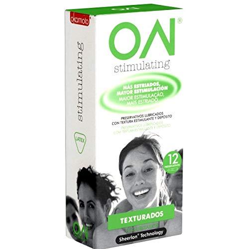 Okamoto ON® Stimulating - 12 superdünne SHEERLON® Kondome, nur 0.035mm Wandstärke, anatomisch geformt mit vielen Noppen, Kondome aus Japan, Japan-Import