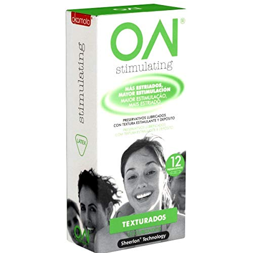 Okamoto «ON®» Stimulating - 12 superdünne SHEERLON® Kondome, nur 0.035mm Wandstärke, anatomisch geformt mit vielen Noppen, Kondome aus Japan, Japan-Import