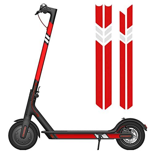 Pegatina Reflectante de patinetes eléctricos, Accesorio de Scooter eléctrico para Patinete electrico Xiaomi M365, Pegatina Lateral Reflectante Impermeable, Pegatina Fluorescente (Rojo Blanco Rojo)