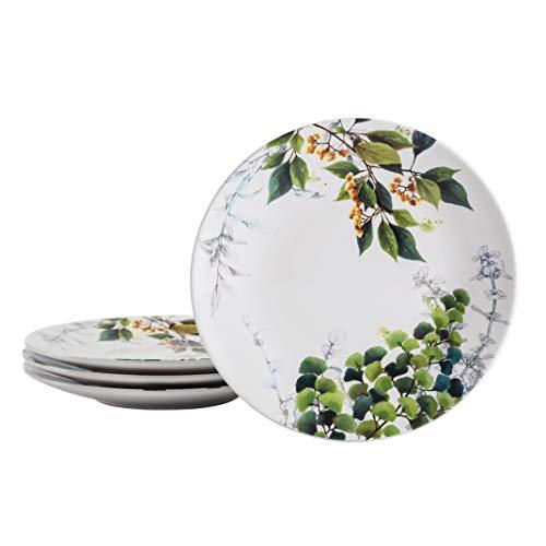 Bico Fern & Grass 27.6 cm Dinner Plates, Set of 4, for Pasta, Salad, Maincourse, Microwave & Dishwasher Safe