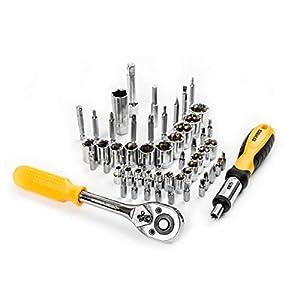DEKO Juego de llaves de Vaso y Herramientas de 168 Piezas Herramienta de Reparación Automática,Juego de Combinación Mixtas Kit con Caja de Herramientas de Plástico Caja de Almacenamiento