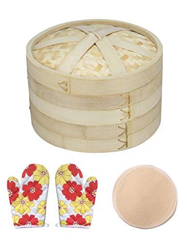 Steamer for Cooking, Natural Bamboo Steamer 2 Tires Basket with Lid, Handmade Bamboo Steamer Basket, Food Steamer Includes 10 Reusable Cotton Steamer Liners And 1 Pair Anti-scalding Gloves
