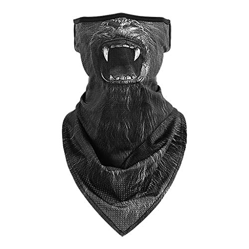 Julhold scarf 3D animal mouth printed face scarf humor neck gaiter with ear hooks bandana scarf tube scarf for nap scarf biker fishing hiking -  Brown - Small