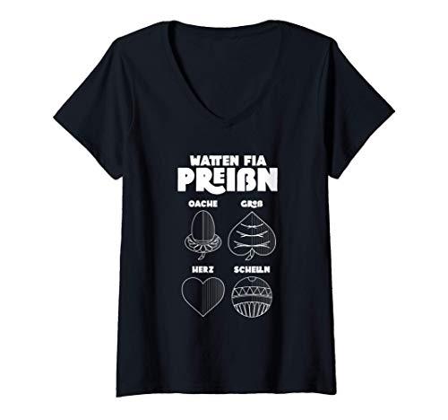 Damen Watten Geschenk Preißn bayerisches Kartenspiel T-Shirt mit V-Ausschnitt