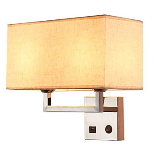 Lámparas de pared industriales, moderno tejido de lino cuadrado cromado con puerto de carga USB Control de botones Lámpara de pared E27 de doble cabezal Decoración de hotel Hogar Sala de est