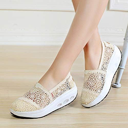 NOADream Vrouwen Wedge Schoenen Licht Casual Hollow Out Dikke Bodem Sneakers Lage Top Ademende Moccasin Loafers