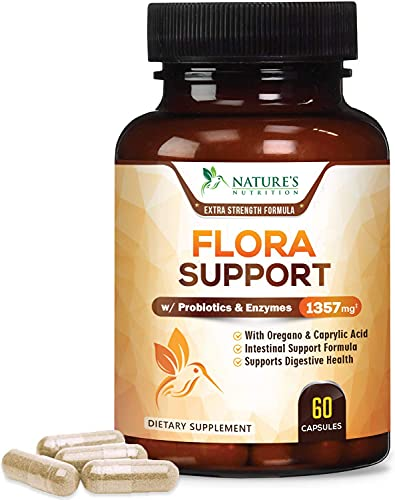 Flora Support Extra Strength with Probiotics 1357mg - Intestinal Flora Support - Made in USA - Cleansing Complex with Oregano, Black Walnut, Caprylic Acid for Women and Men - 60 Capsules