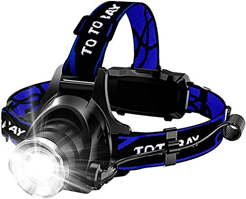 vonivi 6400mAh Stirnlampe LED, USB Wiederaufladbare Stirnlampe Kopflampe Leichtgewichts für Laufen Jogging Lila Reparieren mit 2 Stück 18650 Akkus