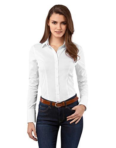 Vincenzo Boretti Damen Bluse besonders tailliert mit Stretch Langarm Hemdbluse elegant festlich Kent-Kragen auch für Business und unter Pullover weiß 34