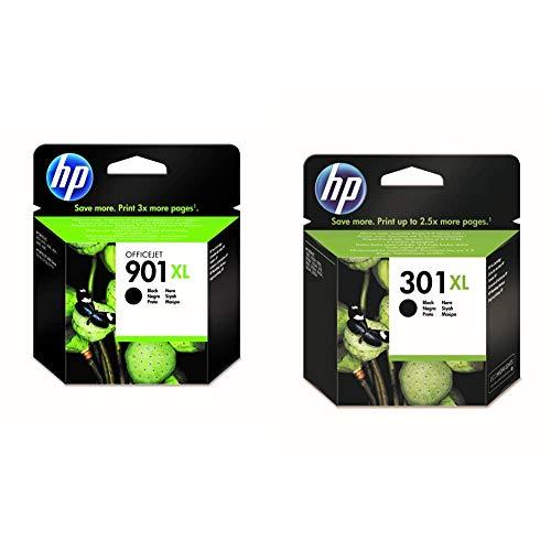 HP 901XL CC654AE, Negro, Cartucho de Tinta de Alta Capacidad Original + 301XL CH563EE, Negro, Cartucho de Tinta de Alta Capacidad Original, Compatible con impresoras de inyección de Tinta DeskJet