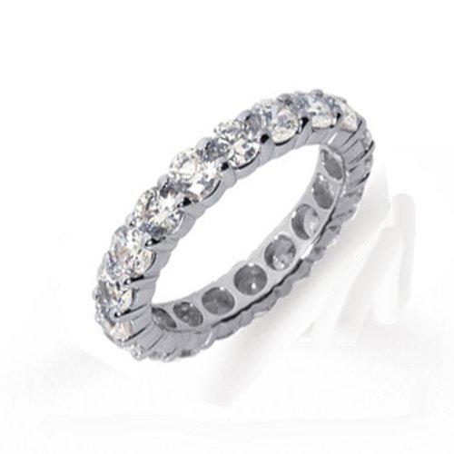 DazzlingRock Anillo de boda apilable de oro blanco de 14 quilates con diamantes redondos para mujer, anillo de boda (2,49 quilates, color H-I, claridad Si3-I2)