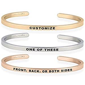Dolceoro Personalized Inspirational Mantra Cuff Bracelet Jewelry, 3mm Wide Shiny 316L Surgical Stainless Steel