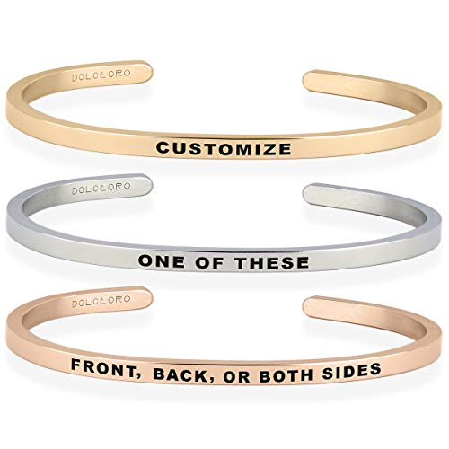 Dolceoro Personalized Mantra Cuff Bracelet Jewelry - Customize Both Sides 3mm Wide, Shiny 316L Surgical Steel