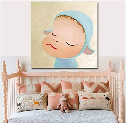 Yoshitomo Nara dibujos animados minimalista lienzo arte pintura cartel impresión pared imágenes para bebé decoración de habitación de niños-60x60 cm sin marco