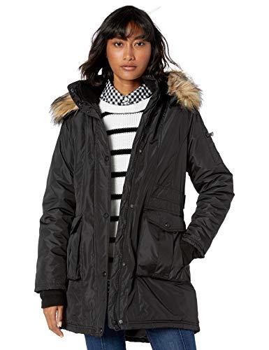 Madden Girl Women's Multi Insulated Coat, snap Pockets Black, M