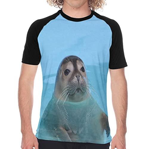 Camiseta de Manga Corta para Hombre,Foca Curiosa Mirando a Straith,Divertidas Imprimir gráfica con Cuello Redondo y diseño Creativo S