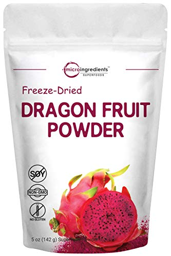 Pure Freezed Dried Dragon Fruit Powder, 5 Ounce, Contains Immune Vitamin C for Immune System Booster, Great Flavor for Baking, Beverage, Smoothie, Food Coloring and Dragon Fruit Drink Mix, Vegan