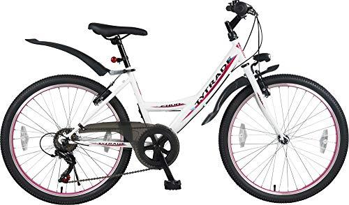 24 Zoll MTB Mountainbike MÄDCHENFAHRRAD Kinder Jugend Mädchenrad Mädchen Fahrrad KINDERFAHRRAD Bike Rad 6 Gang ENUR Weiß TYT19-027