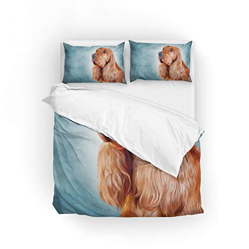 MyDaily English Cocker Spaniel Hunde-Bettwäsche-Set, Mikrofaser, Polyester, Multi, Single(135x200cm)