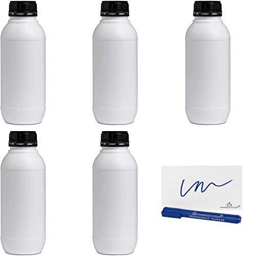 MARKESYSTEM - Botella blanca 1 Litro (5 botellas) de plástico, cierre rosca boca ancha - Catering Industrial, Líquidos, Cosmética, Químicos, ADR + Kit Etiquetado, Apta para uso alimentario