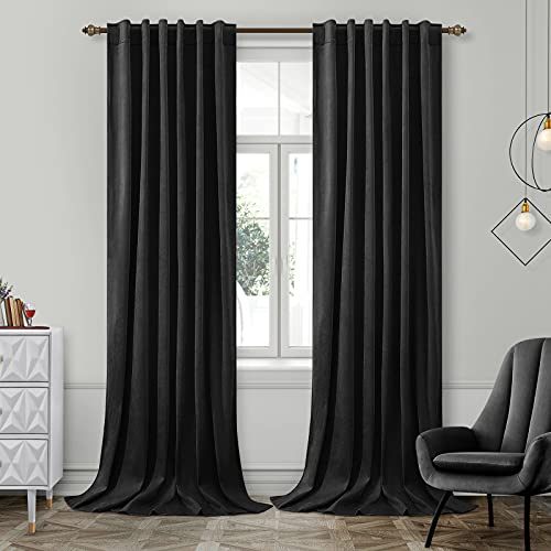 HOMEIDEAS Velvet Curtains Black Blackout Curtains 52 X 96 Inches, 2 Panels Soft and Thick Room Darkening Curtains/Drapes, Thermal Insulated Pocket Back Tab Window Curtains for Living Room