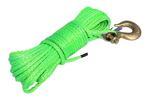 "1/4""50ft Rope for ATV Winch,ATV Synthetic Winch Rope,Boat Winch Cable,Off Road Rope (Green)"