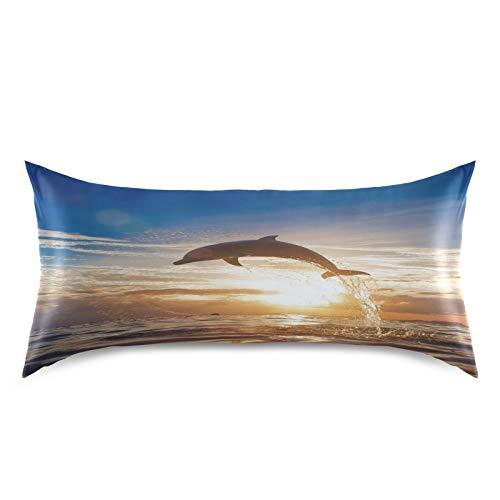 HaJie - Funda de almohada de satén para cabello y piel, diseño de delfín de océano, 100% poliéster, tamaño estándar, 50,8 x 101,6 cm, 1 unidad