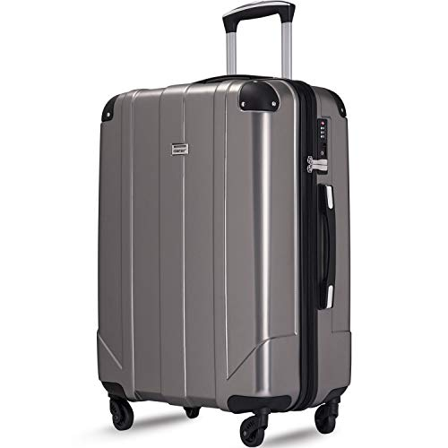 Merax Hardside Spinner Luggage with Built-in TSA and Reinforced Corners, Eco-friendly P.E.T Light Weight 28' Suitcases-Grey