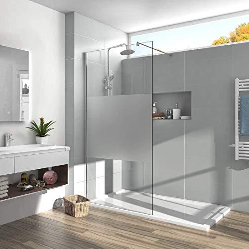 Meykoers Walk in Dusche 90x200cm Walk in Duschwand Duschtrennwand aus 8mm ESG-Sicherheitsglas Duschabtrennung mit Nano-Beschichtung - Teil Satiniert ohne Duschtasse