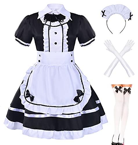 Japanese Anime Sissy Cosplay Sweet Classic Lolita Fancy Apron Maid Dress with Socks Gloves Set (Black)(XL = Asia XXL)(NY01)