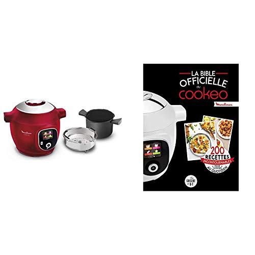 Moulinex COOKEO+ multicuiseur Intelligent 6 L180 Recettes préprogrammées Rouge et La bible officielle du cookeo: 200 recettes incontournables pour cuisiner au quotidien