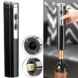 Rosenstein & Söhne Zapfenzieher: Elektrischer Korkenzieher zum Öffnen von Weinflaschen, Akku, schwarz (Flaschenöffner)