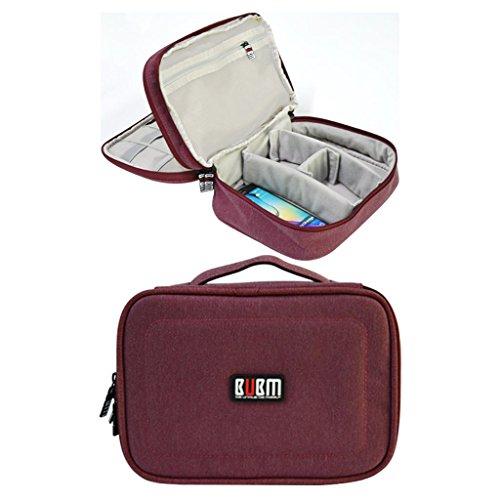 Bubm borsa impermeabile doppio strato da viaggio per dispositivi elettronici e accessori. Rose Red
