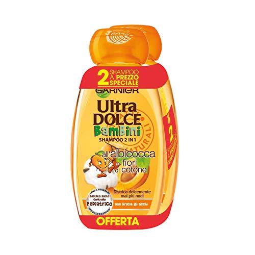 Garnier Ultra Dolce Shampoo 2in1 per Bambini all' Albicocca e Fiori di Cotone, senza Parabeni, senza Parabeni, Ipoallergenico, 300 ml