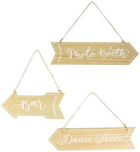 3 Pancartes fléchées Mariage en bois