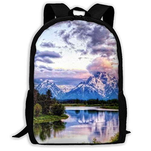 sghshsgh Rucksack für Hochschule,Oxbow Bend National Park Mountains River Sunset Clouds Lake School Bookbag Oxford Casual Travel Rucksack for Teen Boys Girls College Student, Multipurpose Shoulders B