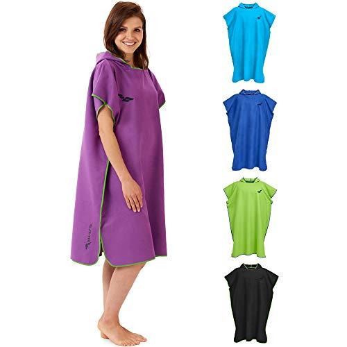 Fit-Flip Umziehhilfe, Surf Poncho, Umziehhilfe Camping, Umkleidehilfe Damen, Handtuch Poncho, Poncho Microfaser – Größe M, lila/grün