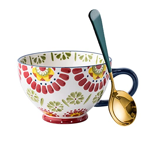 Tazón de porcelana para cereales, pintado a mano, taza de café, 475 ml, juego de taza de té, regalo para avena, latte, capuchino, yogur (capacidad: 475 ml, color: rojo)